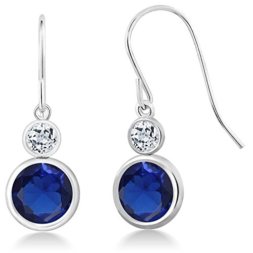 4.52 Ct Round Blue Simulated Sapphire White Topaz 925 Sterling Silver Earrings by Gem Stone King