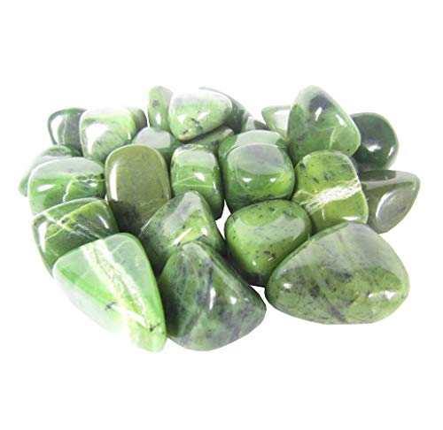 CircuitOffice 1 Lb Tumbled Stones for Wicca, Reiki, Healing, Metaphysical, Chakra, Positive Energy, Lucky Feng Shui, Meditation, Protection, Powers, Decoration Gift (Jade Nephrite)