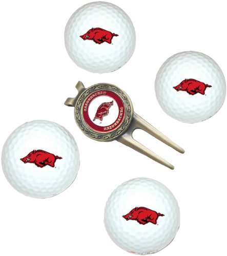 Arkansas Razorbacks Tee Pack (NCAA Arkansas Razorbacks 4 Golf Ball And Divot Tool Set)
