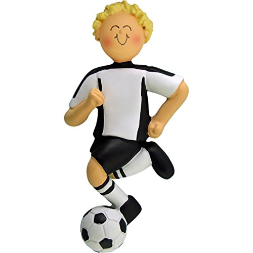 Soccer Boy Figurine - Personalized Soccer Boy Christmas Tree Ornament 2019 - Blonde Team Athlete Score Profession Hobby High School FIFA Yellow Hair Grand-Son - Free Customization (Male White Uniform)