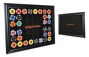 Harley-Davidson 48 Poker Chip Collectors Frame, 21.25 x 15.25 inch, Black 6958