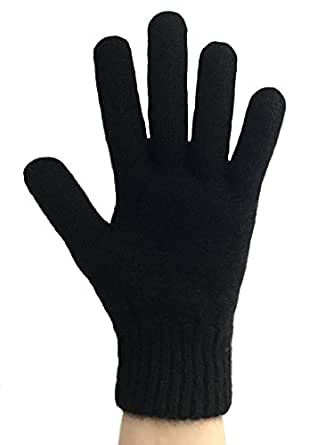 PossumDown Lightweight Brushtail Possum Merino Wool Blend Gloves (Small, Black )