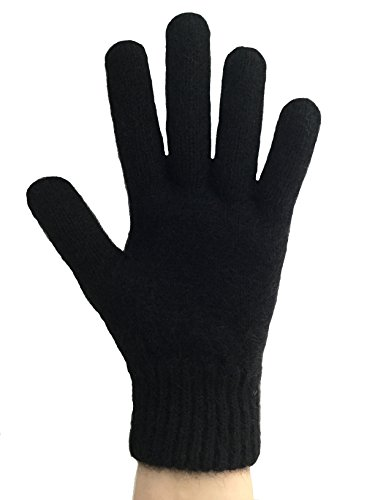 PossumDown Lightweight Brushtail Possum Merino Wool Blend Gloves (Medium, Black)