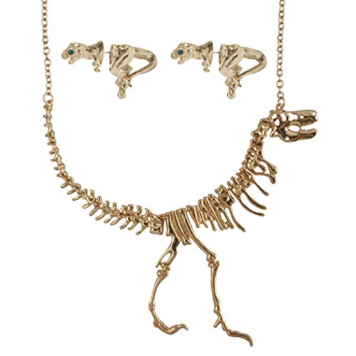 JANE STONE Gold Color Dinosaur Necklace and Earrings Short Statement Jewelry Set -
