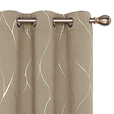 Deconovo Silver Wave Foil Printed Blackout Curtains Room Darkening Grommet Curtain Thermal Insulated Window Drapes for Boys' Room 42W x 72L Inch Set of 2 Panels Khaki - Deconovo decorative blackout curtains are made of 100 percent high quality polyester fabric. Fashioned with a solid color, these curtains are finished with foil printed wave lines on the front face to make it graceful. Our room darkening blockout curtains obstruct all sources of light from entering any room through the window, at any time of the day. These curtain panels can also offer high privacy protection. As thermal insulated curtains, these panels aid in saving on energy cost on heating and cooling a room. They can reduce heat loss and penetration into any room. These curtains are noise reducing, perfect for those in noisy neighborhoods. - living-room-soft-furnishings, living-room, draperies-curtains-shades - 41bEaMUigTL. SS400  -
