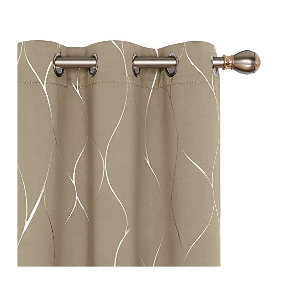 Deconovo Silver Wave Foil Printed Blackout Curtains Room Darkening Grommet Curtain Thermal Insulated Window Drapes for Boys' Room 42W x 72L Inch Set of 2 Panels Khaki - Deconovo decorative blackout curtains are made of 100 percent high quality polyester fabric. Fashioned with a solid color, these curtains are finished with foil printed wave lines on the front face to make it graceful. Our room darkening blockout curtains obstruct all sources of light from entering any room through the window, at any time of the day. These curtain panels can also offer high privacy protection. As thermal insulated curtains, these panels aid in saving on energy cost on heating and cooling a room. They can reduce heat loss and penetration into any room. These curtains are noise reducing, perfect for those in noisy neighborhoods. - living-room-soft-furnishings, living-room, draperies-curtains-shades - 41bEaMUigTL. SS570  -