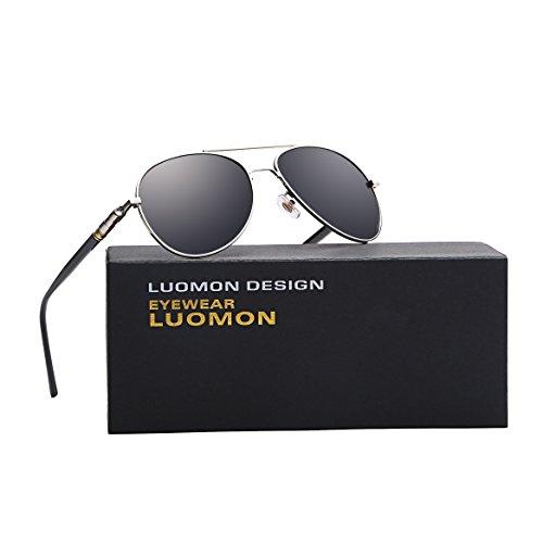 Aviator Silver Frame - LUOMON MB209 Silver Frame/Grey Lens Polarized Aviator Sunglasses