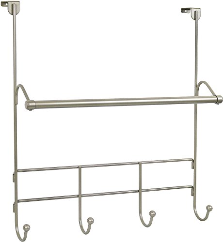 Stock Satin Robe - Greenco Over the door Towel Bar with 4 Hooks Satin Nickel Finish.