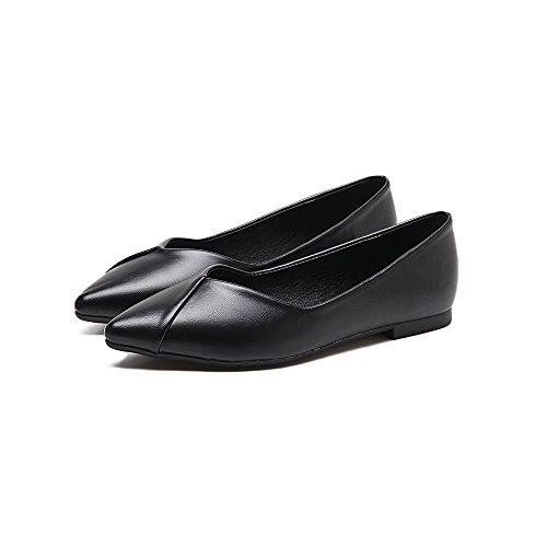 Cuatro Plano Zapatos Simple Punta Mujer los Zapatos Solo Negro con Calzado Plana Qiqi Hembra Xue Zapatos luz con Bajos de nzvZqRzF