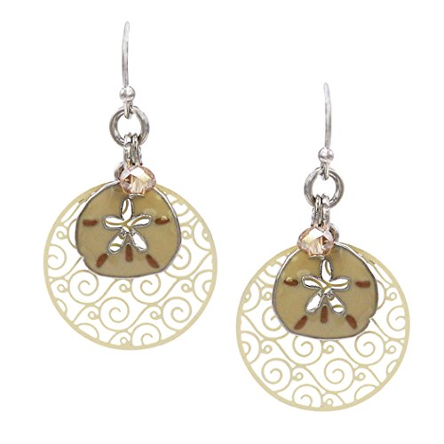 Rosemarie Collections Women's Beach Theme Sand Dollar and Filigree Disc Earrings (Ivory) (Dollar Sand Filigree)