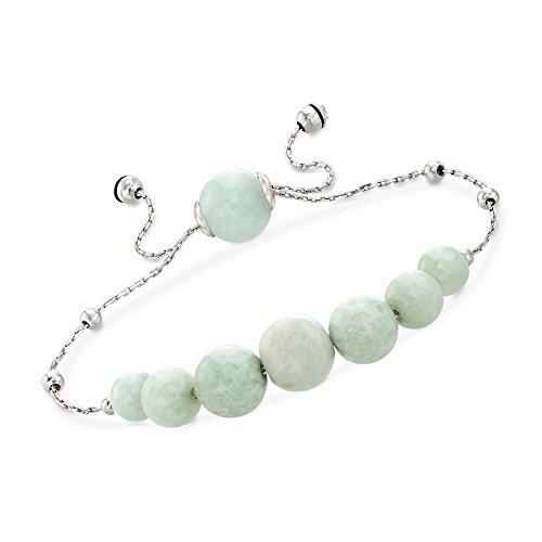 Ross-Simons Graduated Green Jade Bead Bolo Bracelet in Sterling -