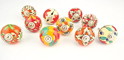 STREET CRAFT Ornate Red Orange Floral Ceramic Knobs For Cabinets and Cupboards Hand Painted Pulls Set of 10 Red And Orange