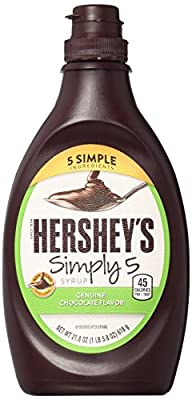 HERSHEY'S Simply 5 Syrup, Chocolate, Dessert Topping/Beverage Syrup, Gluten-Free, 21.8 Ounce (Pack of 6)