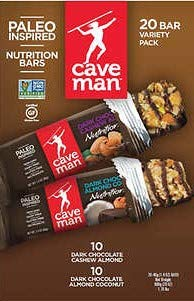 Caveman 20 Bar Variety Pack 10ct Dark Chocolate Cashew Almond & 10ct Dark Chocolate Almond Coconut 1.4oz Each