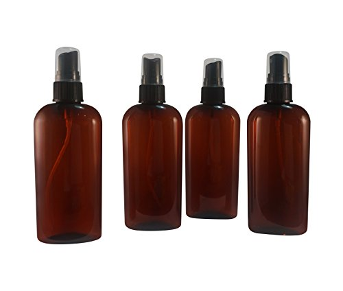 WolfMoon Botanicals (Pack of 4) 4 Oz Amber Refillable, Reusable, Empty Plastic Bottle w/Fine Mist Spray - Mfg. USA. Used in Travel, DIY, Oils, Aromatherapy, Perfume, ()
