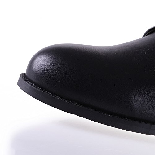 Amoonyfashion Femmes Bout Rond Fermé Orteils Chaussures À Talons Bas Noir