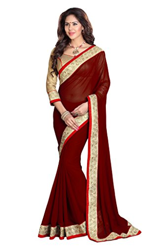 Sourbh Mirchi Fashion Women's Lace Work Wedding Traditional Indian Saree Maroon