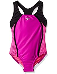 Girls Mesh Splice Thick Strap One Piece Swimsuit