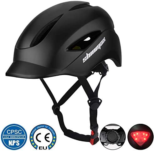 Shinmax Commuter Bike Helmet, Bicycle Helmet CPSC CE Certified with Sun Visor LED Light Portable Backpack Adjustable Size for Adult Men Women Urban Commuter Cycling Mountain Road