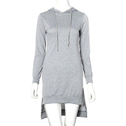 OverDose Mujeres Sudadera Vestido Doble Split Sudadera Pullover Suéter Bolsillos Gris