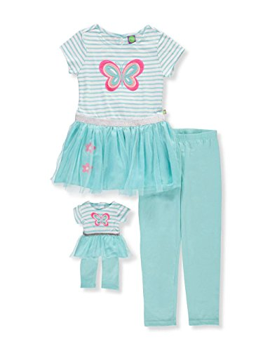 ig Butterfly Tutu Legging Set with Matching Doll Outfit, Turquoise/White, 14 ()