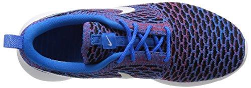 Nike Frauen Roshe One Flyknit Laufschuhe Foto Blau / Weiß-Rot