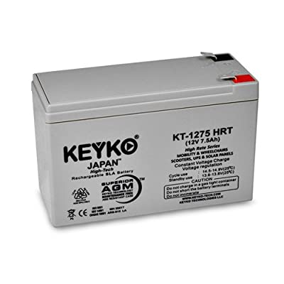 Razor 12V 7Ah 6-DW-7 Repacement Battery 12V &.5Ah REAL 8.0 Amps Deep Cycle Electric Scooter Battery SLA Sealed Lead Acid AGM Rechargeable Genuine KEYKO F2 / F1 Adapter