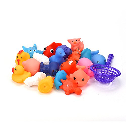 Clothful  Clearance on Sales  One Dozen 20pcs Rubber Animals With Sound Baby Shower Party Favors Toy