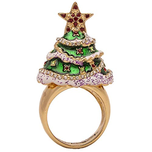 (Ritzy Couture Ornament Charm Merry Christmas Tree Cocktail Enamel (Goldtone) Ring Jewelry for Women's Thanksgiving Gift or Girls Christmas Tree)