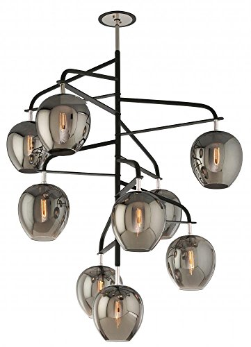 Troy Lighting Odyssey 9-Light Pendant - Carbide Black and Polished Nickel with Plated Smoked Glass