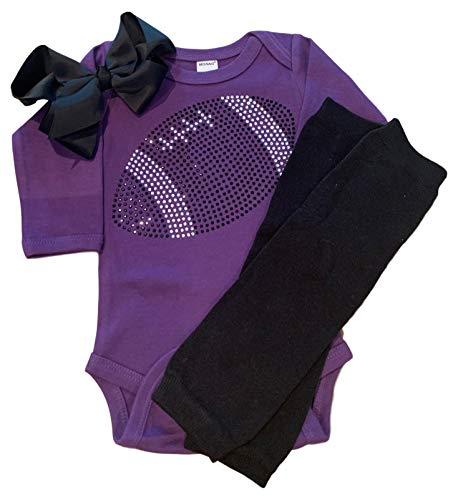 - FanGarb Baby Girls Black Rhinestone Football Long Sleeve Outfit with Leg wamers & Bow (0-3 mo, Purple)