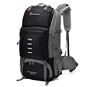 Mardingtop 50 Liter Hiking Backpack with Rain Cover (Black)