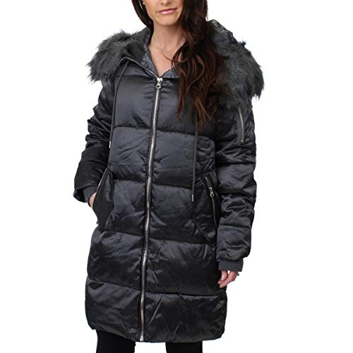 Jessica Simpson Women's Puffer w/Faux Fur Hood Titanium Large