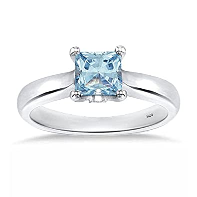 Silverdew Simulated Gemstone Solitaire Single Stone Princess Cut