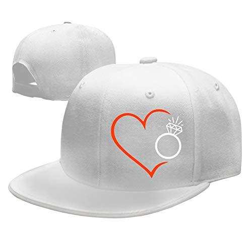 Unisex Herz Mit Diamantring in Rot Schwarz Cotton Denim Dad Hat Adjustable Plain Cap (Denim Schwarz)