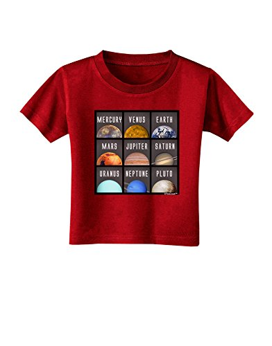 Complete Toddler System - TooLoud Solar System Squares Dark Toddler T-Shirt Dark Red - 3T