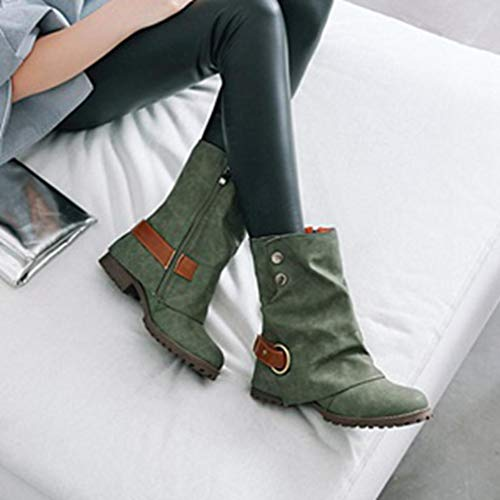 Warm Boots Women Leather Boots Short Casual Short Buckle Women Leather Shoes Fashion Artificial Familizo Green Women Patchwork Leather Comfortable Shoes 1EwpqYc