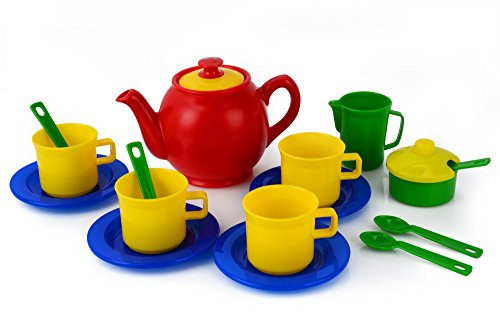 Kidzlane Play Tea Set, 15+ Durable Plastic Pieces, Safe and BPA Free for Childrens Tea Party and Fun (Tea Plastic Set)