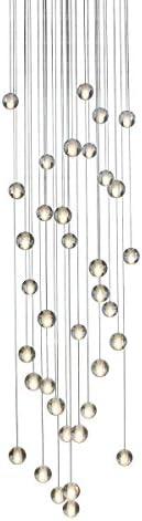 Orion 36 Light Floating Glass Globe LED Chandelier, Round Canopy, Brushed Nickel