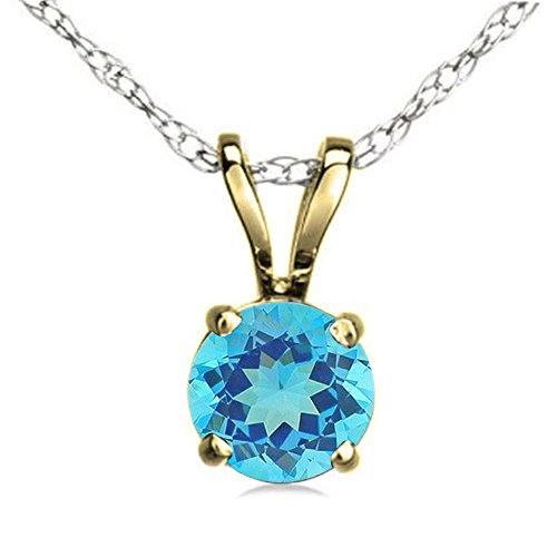 10K Yellow Gold 7 mm Round Cut Blue Topaz Ladies Solitaire Pendant (Silver Chain Included)