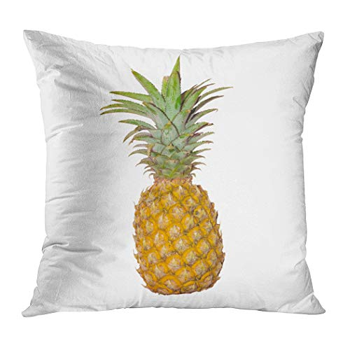 Ortrial Throw Pillow Cover Print Polyester Pineapple Isolated on White Background Decorative Sofa Bedroom Hidden Zipper Pillowcase Patio Outdoor 20 x 20 Inches (Grenadier Natural Light)