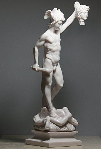 Perseus with the Head of Gorgon Medusa Alabaster Statue Sculpture 13.4΄΄ (White Statue Alabaster)