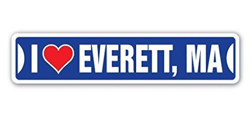 I LOVE EVERETT, MASSACHUSETTS Street Sticker Ma City State Us Wall Road DÃcor Gift - Sticker Graphic - Sticks to any smooth (City Of Everett Ma)
