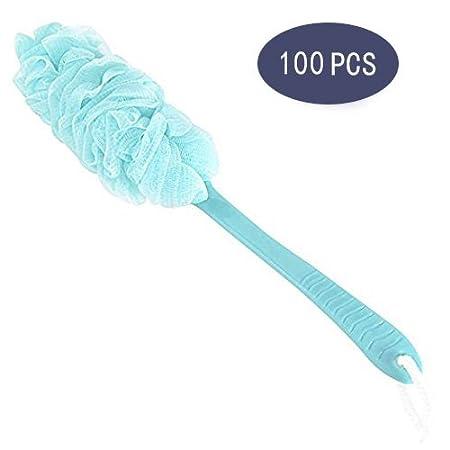 HomeLives Bath Scrubber Brush, Long Handle Shower Body Sponges Back Brush, Nylon Mesh Body Brush for Shower/Bath, Utility Bathroom Accessories for Men & Women (Blue)