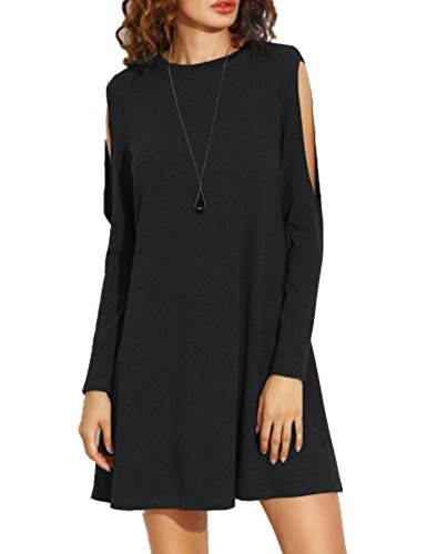 Haola Women's Fall Shoulder Off Long Sleeve T-shirt Dress Basic Shift Dress XL Black