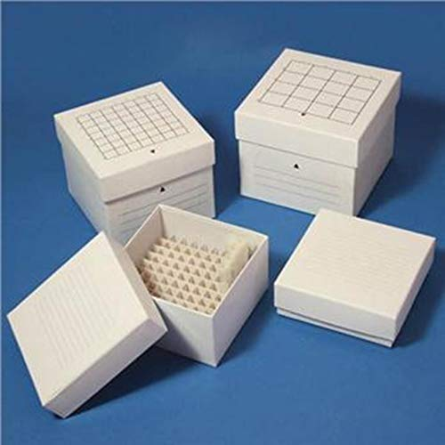 (Globe Scientific Cardboard Storage Box for 15mL Centrifuge Tubes, 49 Place, 134mm Length, 134mm Width, 115mm Height, White (Case of 36))
