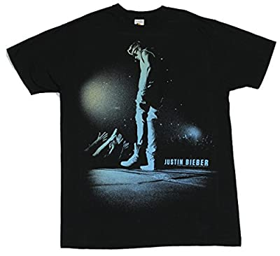 Justin Bieber Mens T-Shirt - Green Blue Hued Image Hands Reaching From Crowd