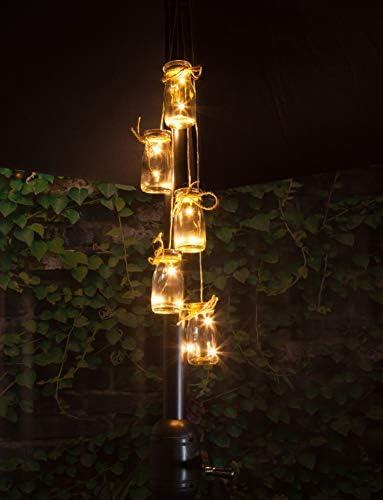 noma 5 Botellas Sombrilla Cluster luz con luz LED Blanca cálida, Talla única: Amazon.es: Jardín