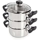 Morphy Richards Equip 3 Tier Steamer, Stainless Steel, 18 cm