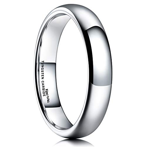 King Will Basic 4mm Classic Polished Comfort Fit Domed Tungsten Metal Ring Wedding Band 4.5